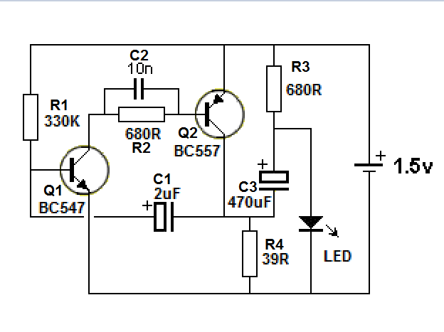 simple led flasher circuit using a transistor