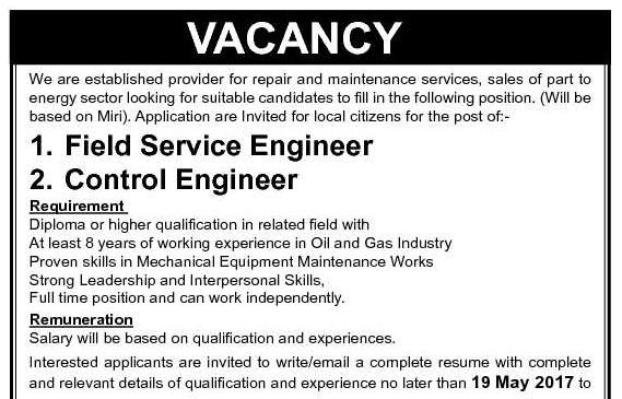Oil &Gas Vacancies: Vacancies- Sapura Kencana GE Oil & Gas-Miri