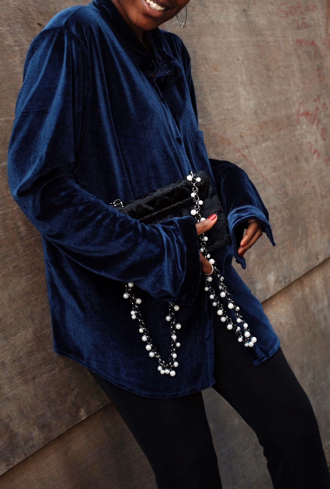 Navy Blue Velvet LPA Shirt Via REVOLVE, Black Velvet ASOS Cross Body Bag, Black Flared Frilly Zara Trousers, Black Pointed Topshop Ankle Boots