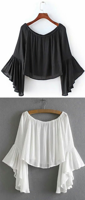 Large neck bell sleeve blouse