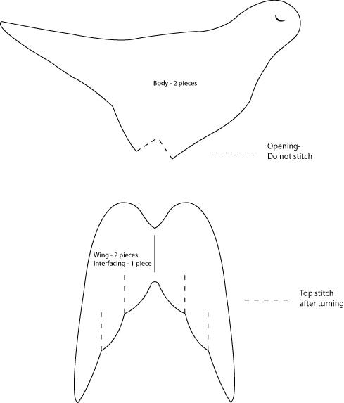 textiles body templates - bird template