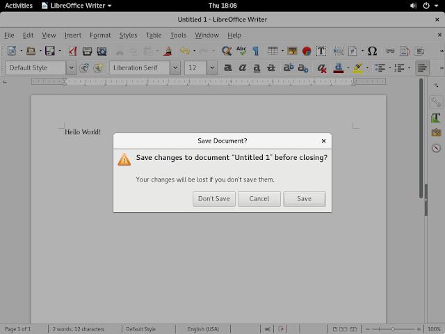 LibreOffice 5.2 sendo executando sob o ambiente GNOME 3.20