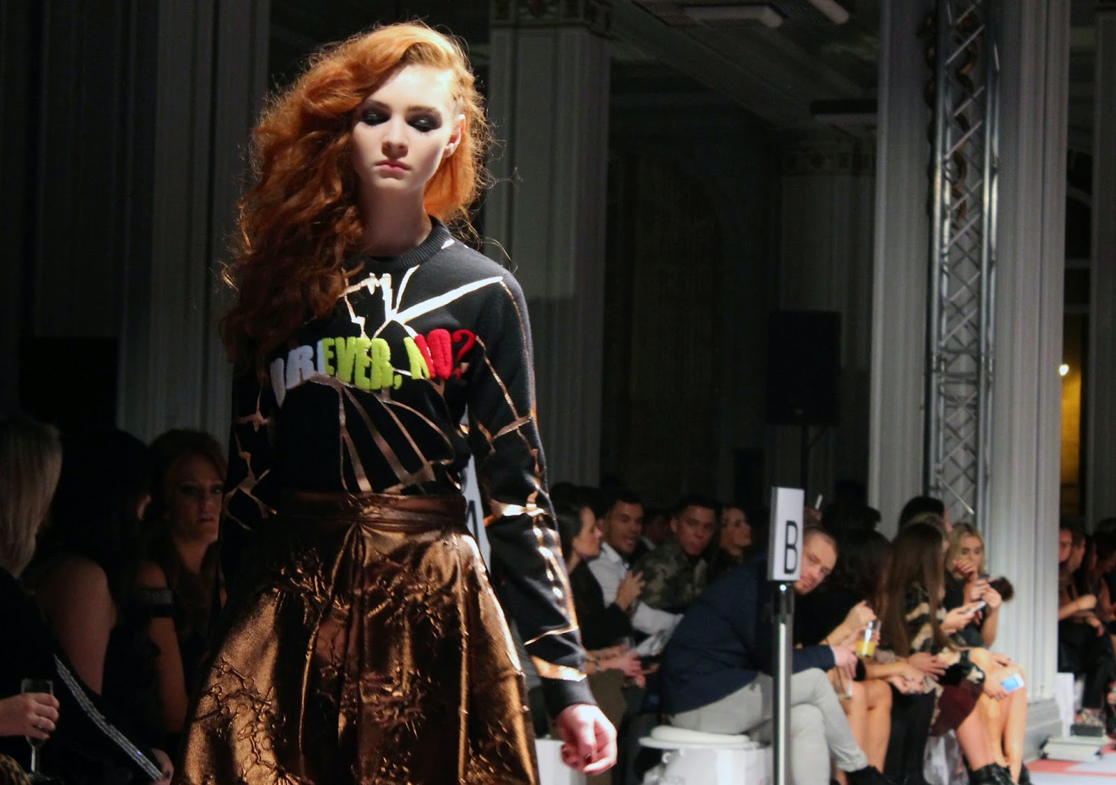 kenzo forever, no? sweatshirt at cricket fashion show liverpool celebration of style