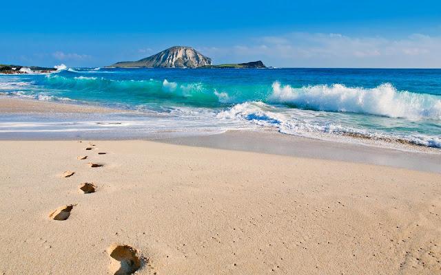 Het strand op Hawai