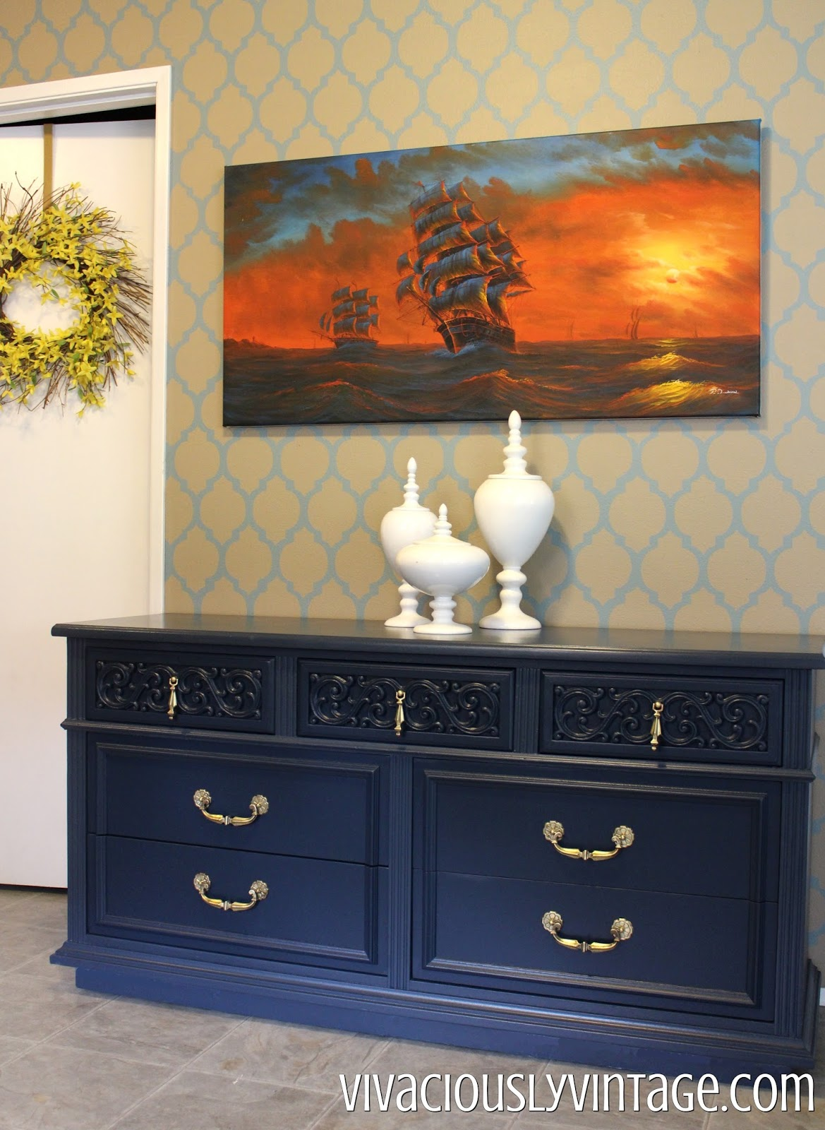 Navy blue and gold painted vintage antique dresser