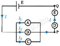 Aliran arus listrik pada rangkaian lima lampu, hukum I Kirchhoff