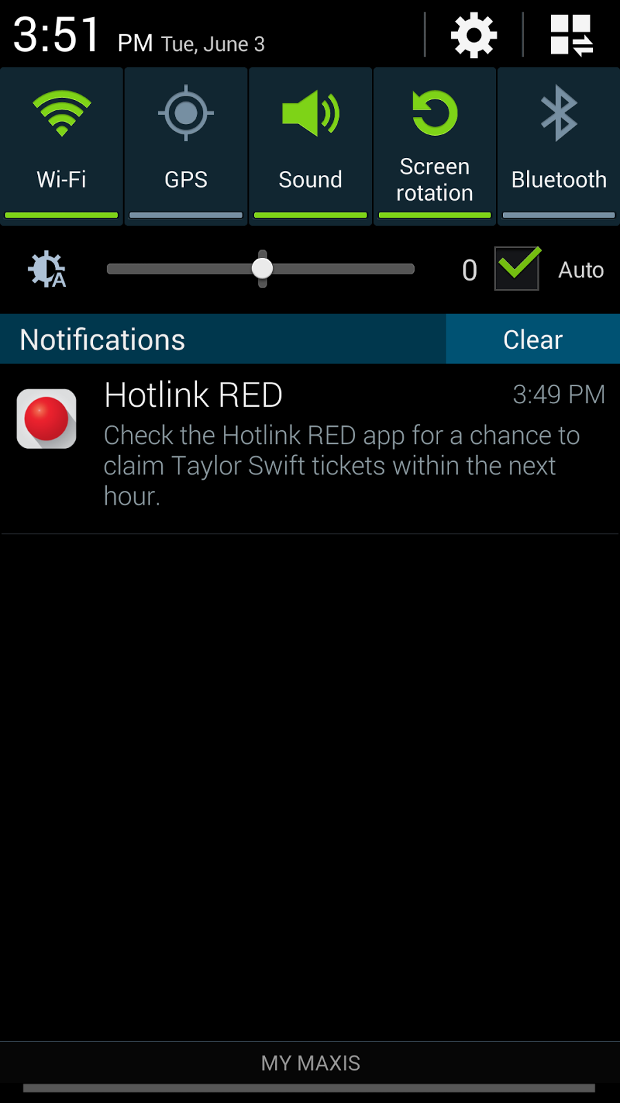 RED Apps notification for Taylor Swift concert ticket giveaway