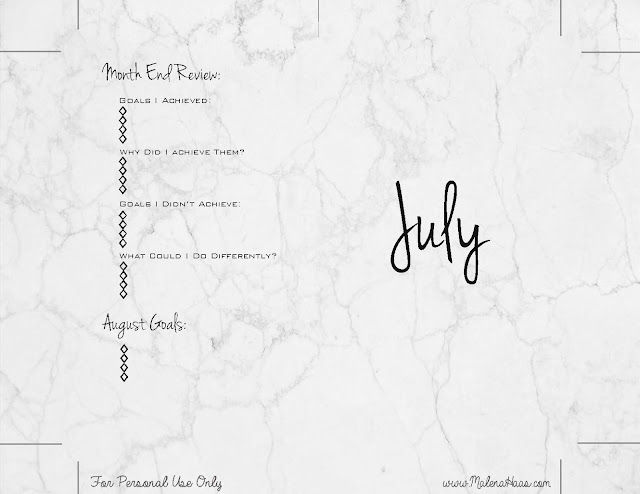 Goal Setting Monthly Inserts for Planner - Printable Marble