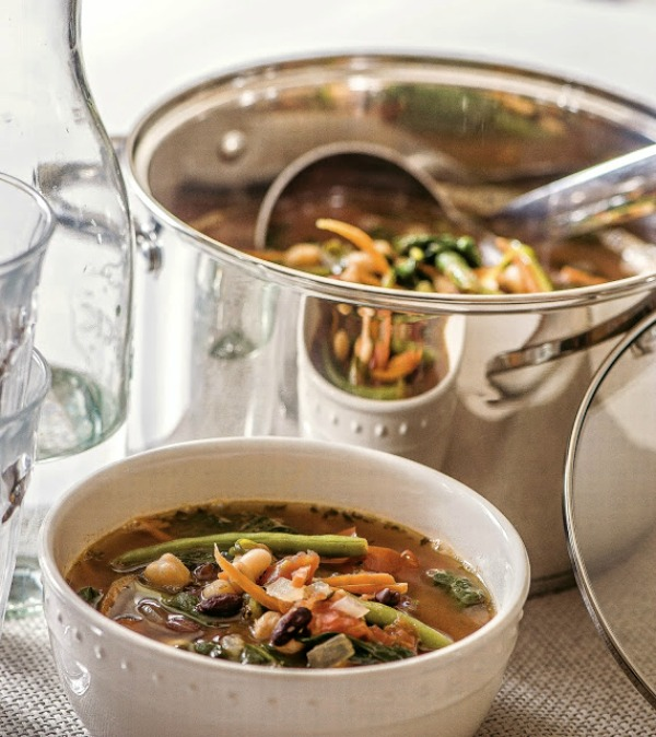Three Bean Minestrone Soup from the cookbook Prep Ahead Meals from Scratch is the perfect recipe you can make ahead of time to have on hand for busy nights.