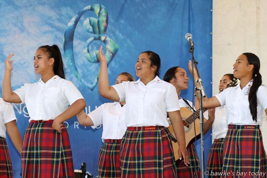 Hukarere Girls' College, Eskdale, performing at Waitangi Day Big 9, a Waitangi Day event hosted by Ngati Kahungunu Iwi Incorporated, at Hawke's Bay Regional Sports Park, renamed Kahungunu Park for February. photograph