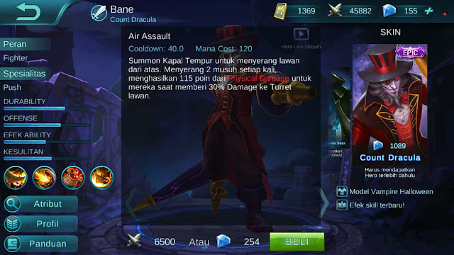 Bane, Jenis Hero Dalam Game Mobile Legends