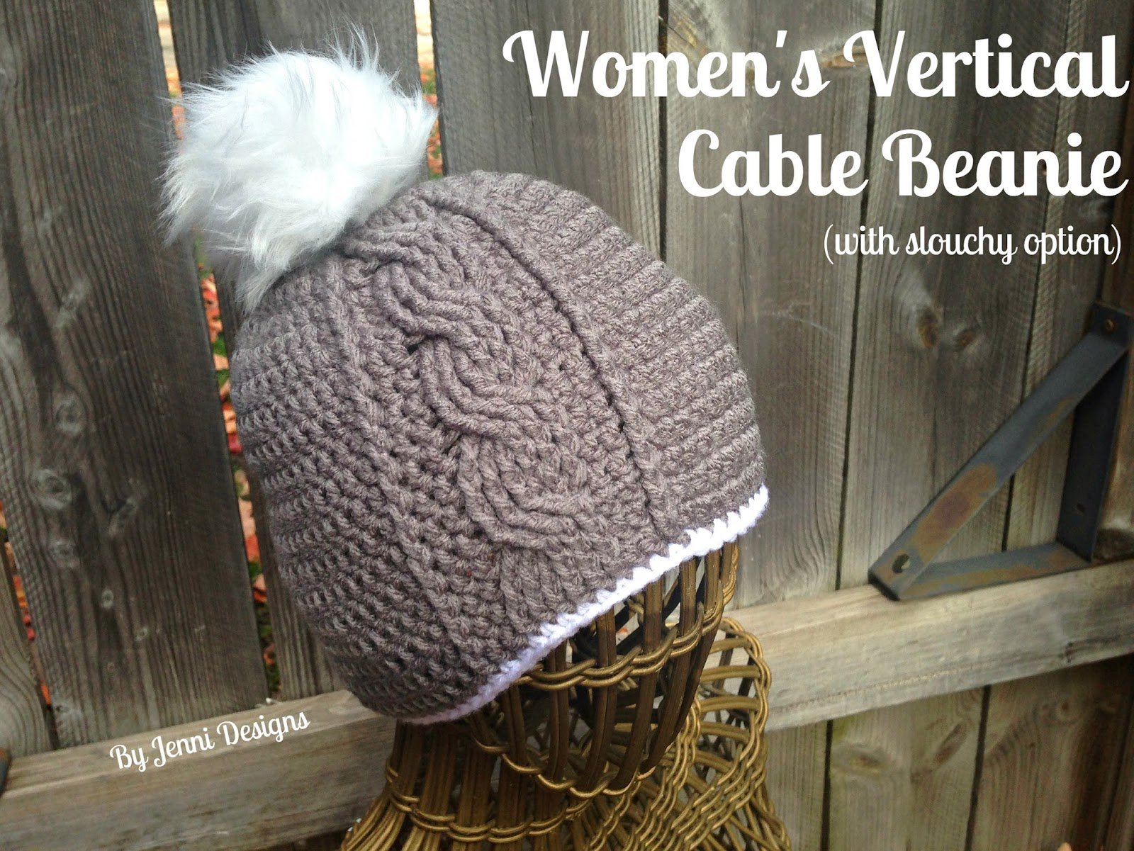 Free Crochet Pattern  Women s Vertical Cable Beanie with Slouchy Option 9e11722686