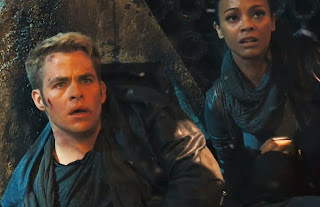 Chris Pine as Kirk, Zoe Saldana as Uhura in Star Trek Into Darkness, Directed by J. J. Abrams