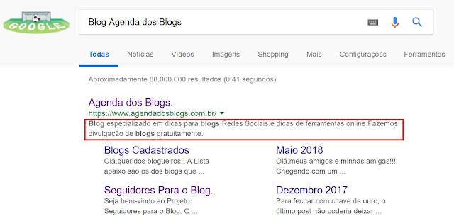 Fazendo a Meta Description do Blog.