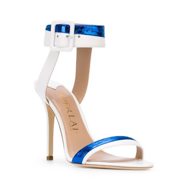 Aperlai  White and Metallic Blue Barely There Stilettos
