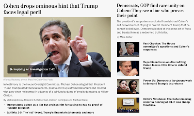 Democrats, GOP find rare unity on Cohen: They see a liar who proves their point / Mr. Cohen's testimony may push each party further into its corner....