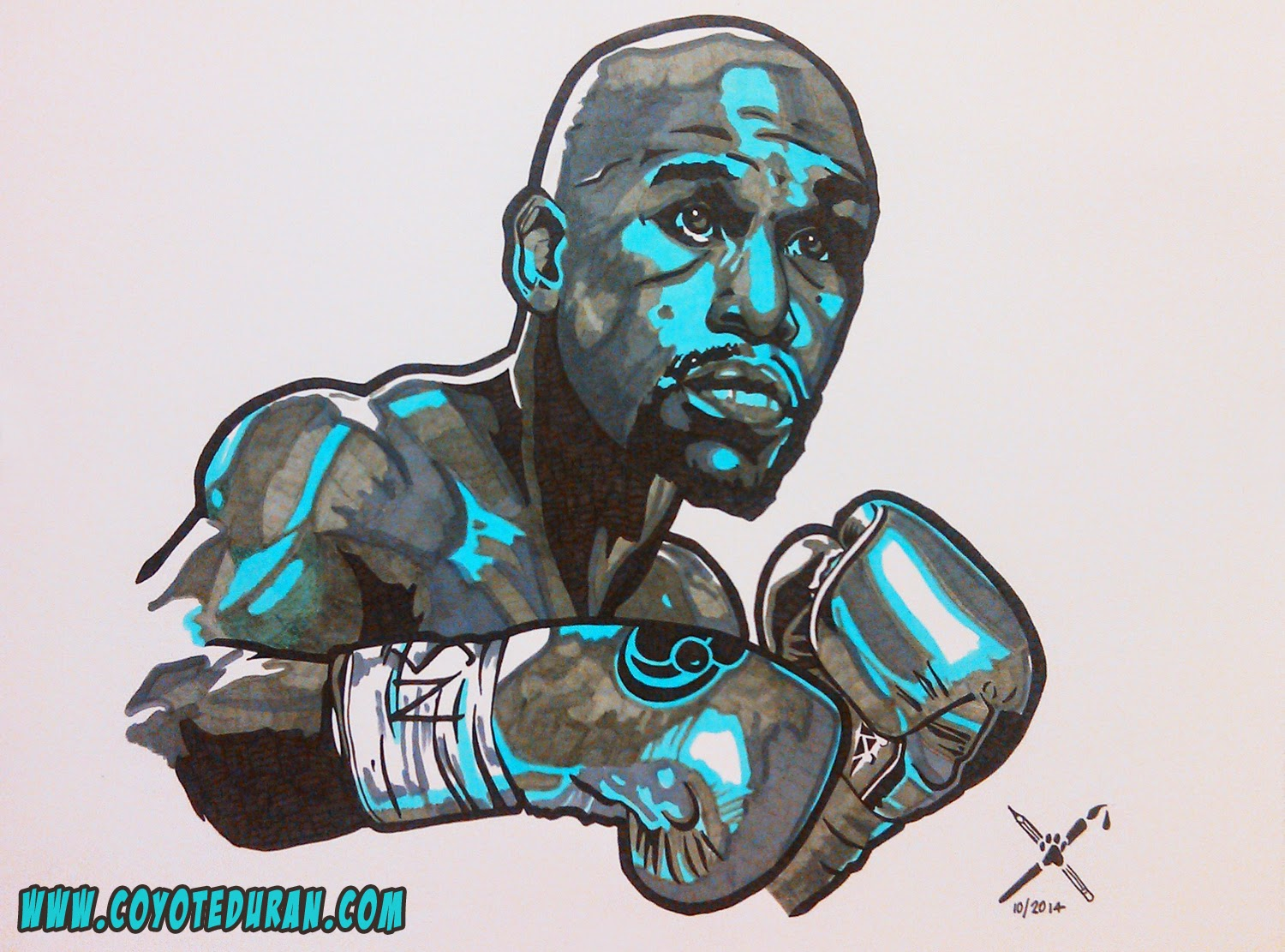 "Floyd Mayweather Jr. art, Copic and Micron markers on 9"" X 12"" Bristol Board"