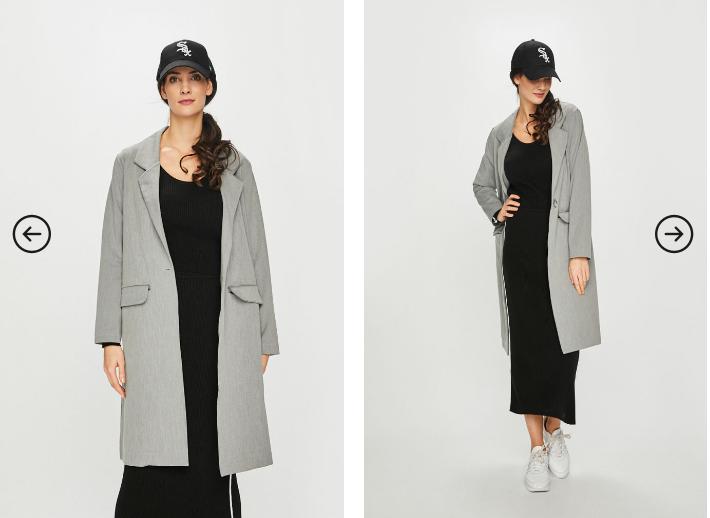 Palton modern de femei tineresc gri lung de iarna ieftina 2019 - Answear