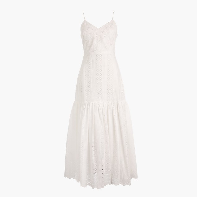 J Crew Tiered spaghetti strap midi dress eyelet