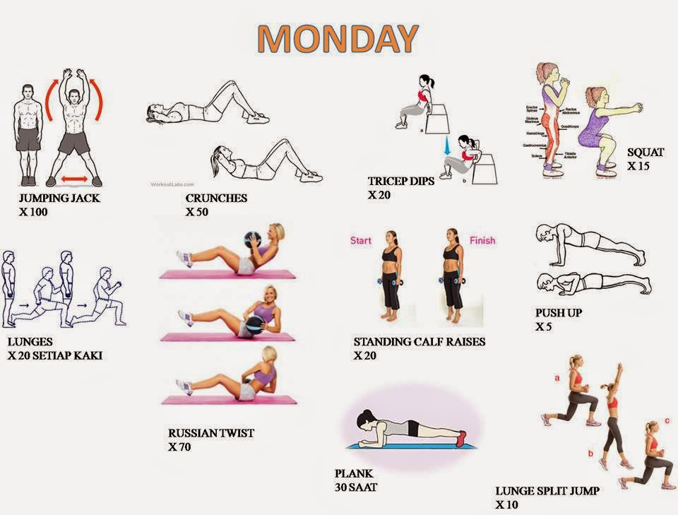 Daily Workout Workout By Day Monday To Saturday