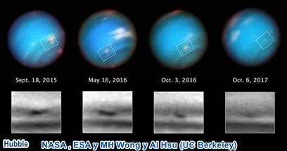 El Hubble ve la misteriosa tormenta menguante de Neptuno