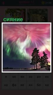 происходит северное сияние на небе