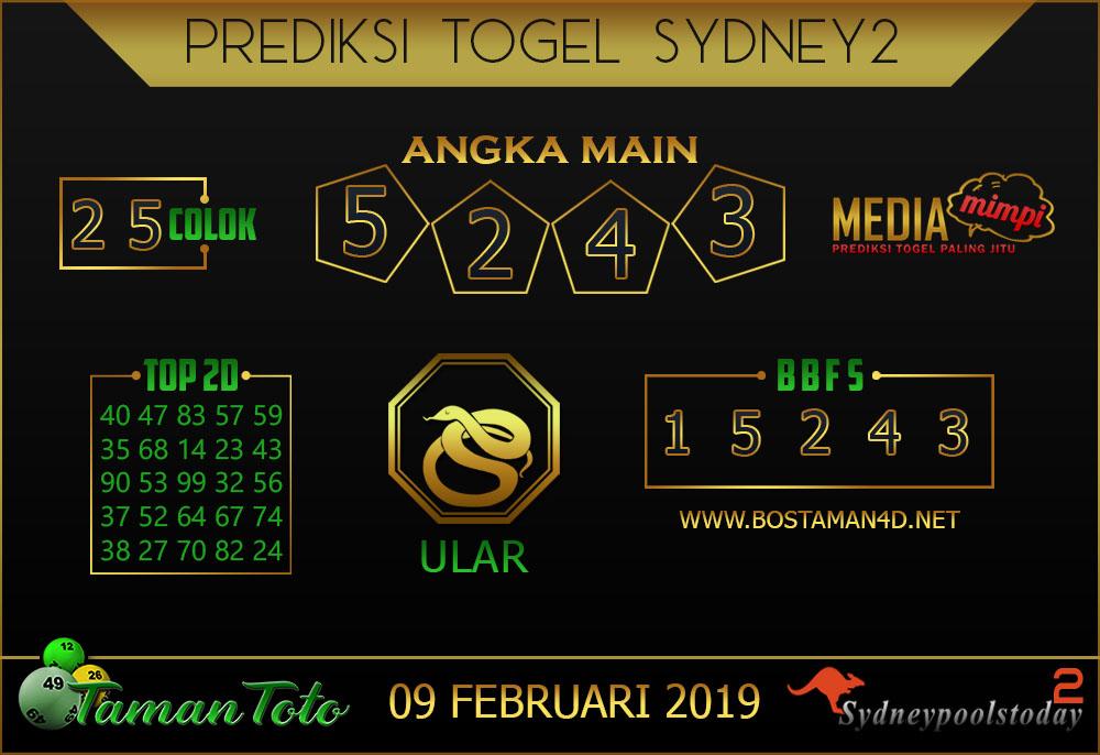 Prediksi Togel SYDNEY 2 TAMAN TOTO 09 FEBRUARI 2019