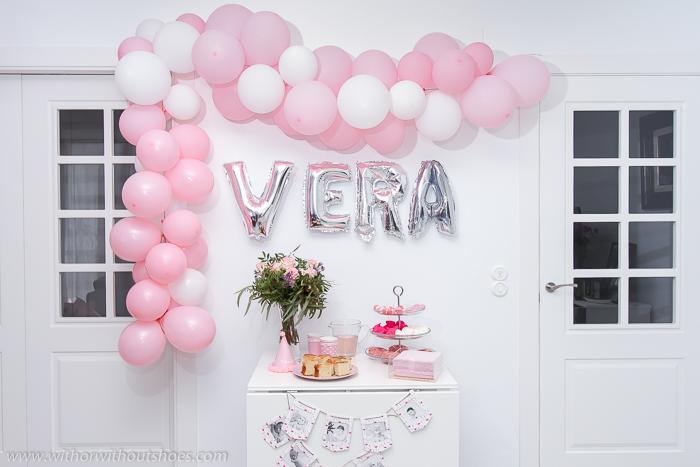 Decoracion Fiesta de Cumpleaños Bebe niña Rosa Blanco Estilo Nordico