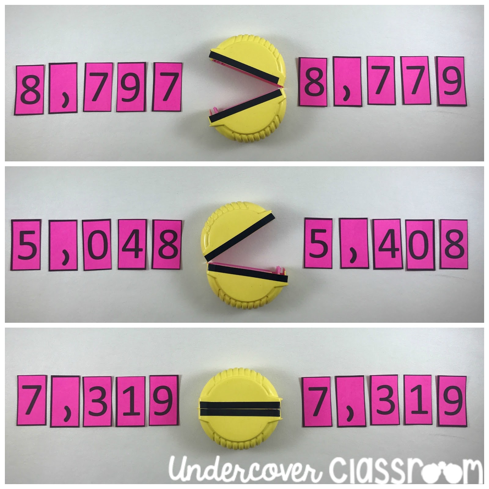 Transform some Hubba Bubba bubble tape containers into Pac Man number chompers! Use these as greater than, less than symbols to teach comparing numbers through place value.