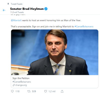 Tuíte do senador Brad Hoylman