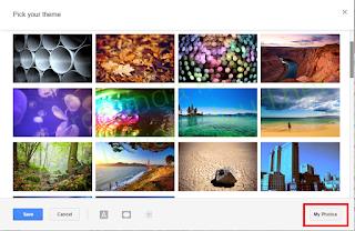 ambil theme foto sendiri di gmail