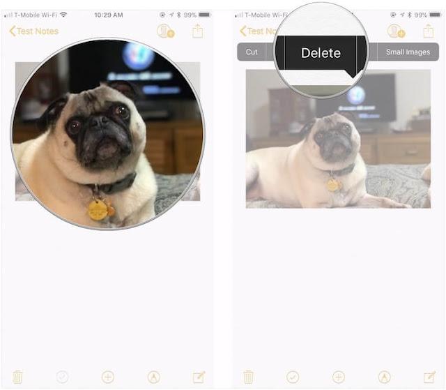 كيفية حذف الصور ومقاطع الفيديو في تطبيق الملاحظات Notes في iOS 11