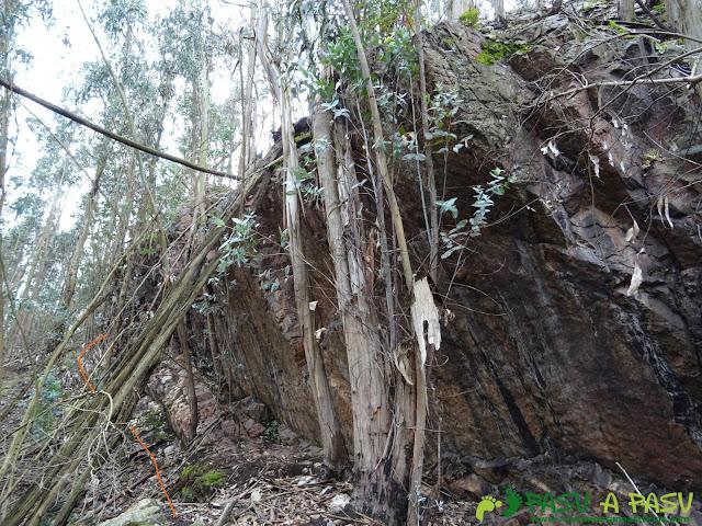 Llegando a la cima del Pico el Castiello en Corvera