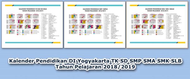 Kaldik (Kalender Pendidikan) DI Yogyakarta TK SD SMP SMA SMK SLB Tahun Pelajaran 2018/2019