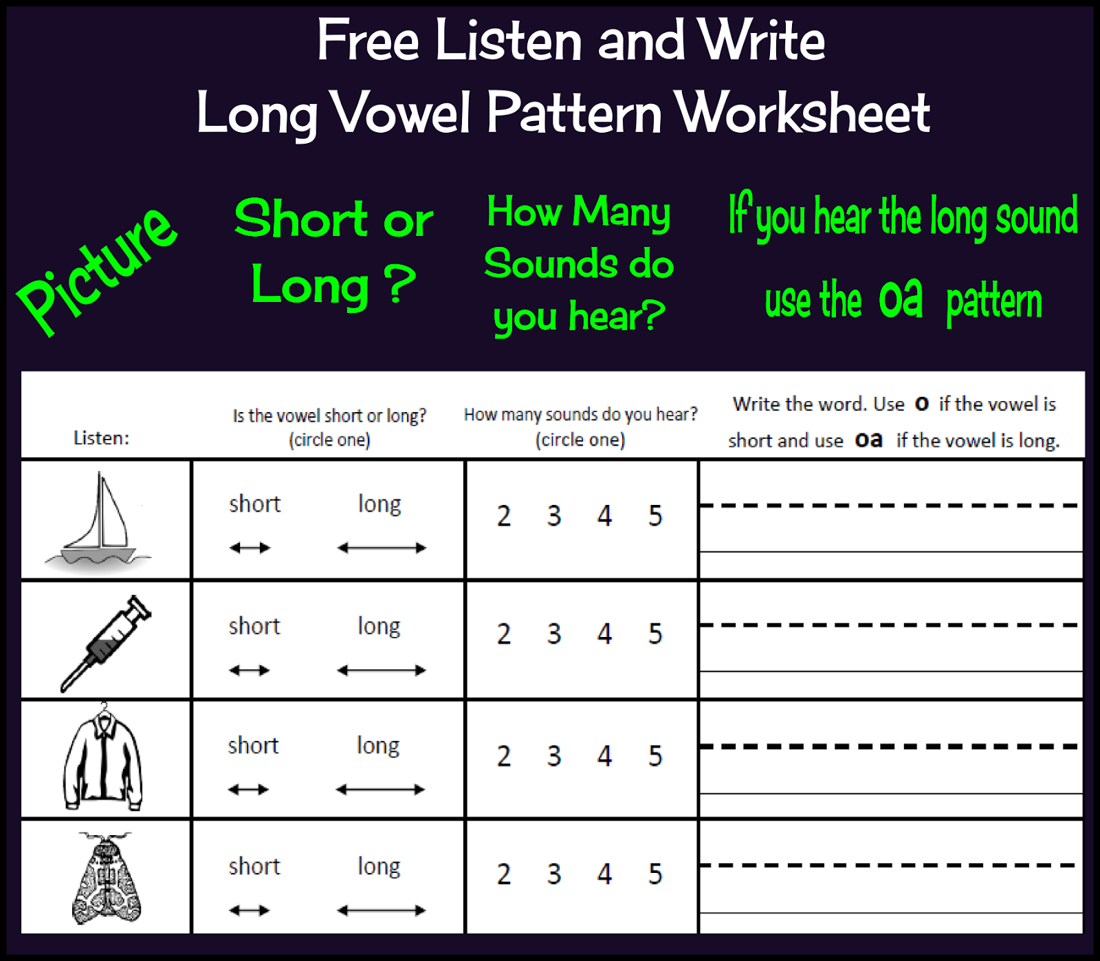 Tchrgrl Free Listen And Write Long Vowel Patterns Worksheet