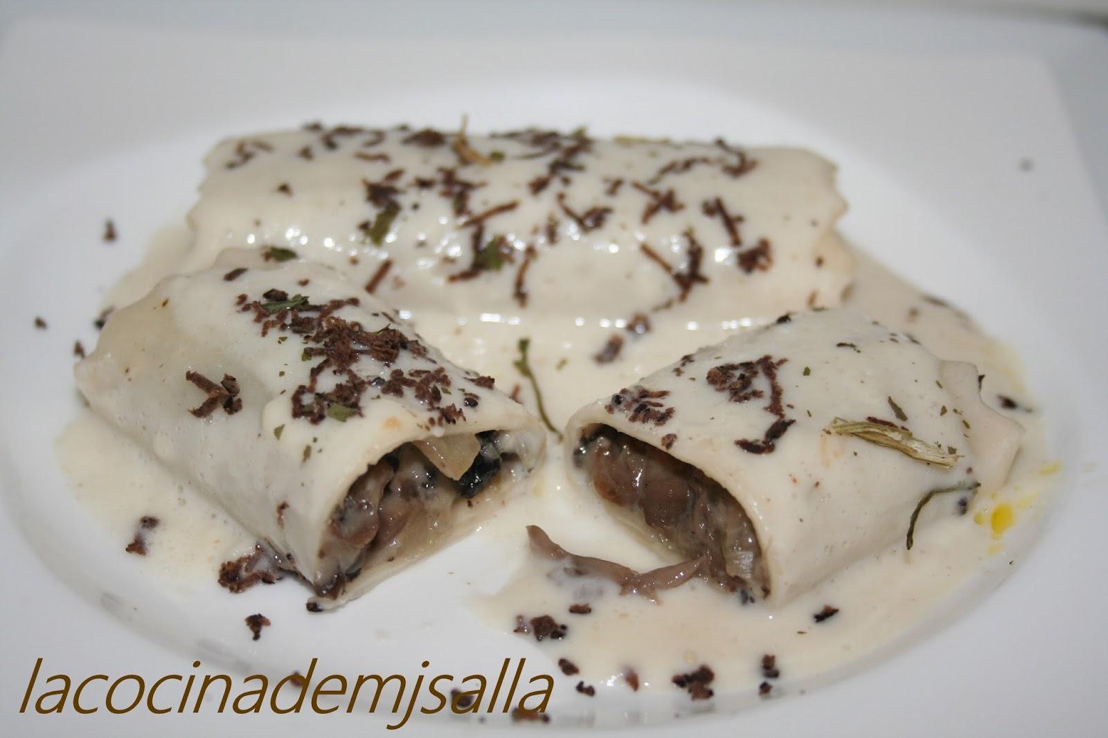 Canelones de setas trufa y foie con bechamel de ceps for Arroz con setas y trufa