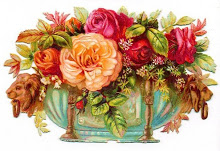 free-vintage-flower-clipart-peach-and-pink-cabbage-roses-in-victorian-container.jpg (220×151)