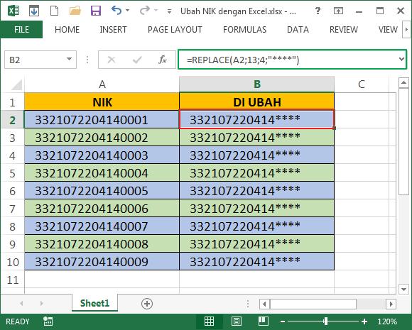 ubah 4 digit terakhir NIK dengan fungsi REPLACE