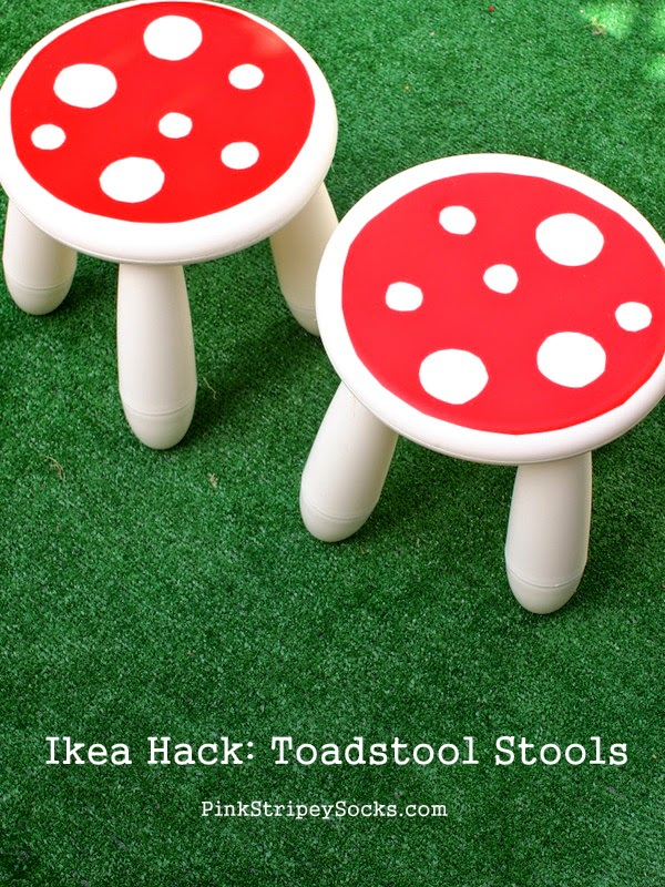 DIY Ikea Hack:  Turn a stool into a cute toadstool seat!  Super easy and cute results!