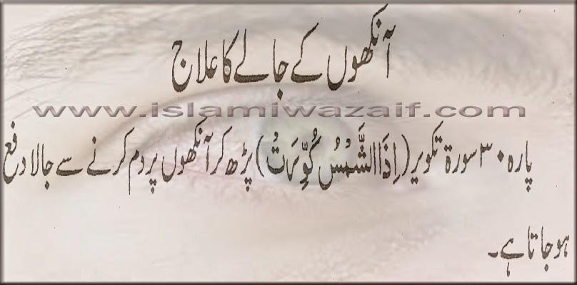 aankhon ke jale ka ilaj in urdu
