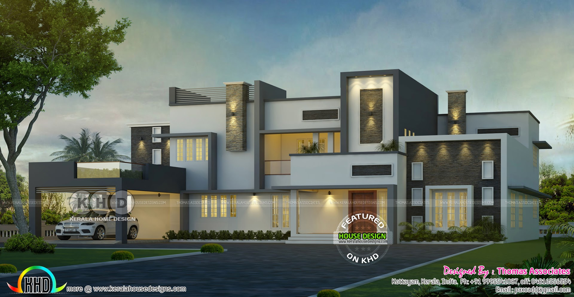 4 bedroom contemporary bungalow home kerala home design for Modern 4 bedroom bungalow house plans