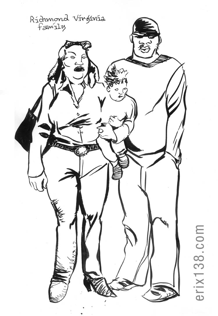 Brush and ink drawing: Richmond Virginia Family