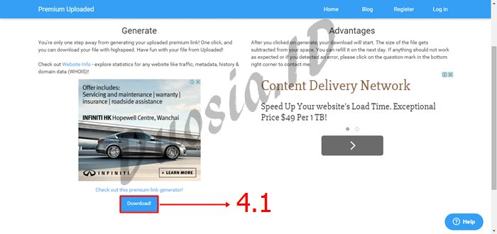 Cara Download di Uploaded Tanpa limit kecepatan Download menggunakan premium-uploaded.net Langkah ke 4