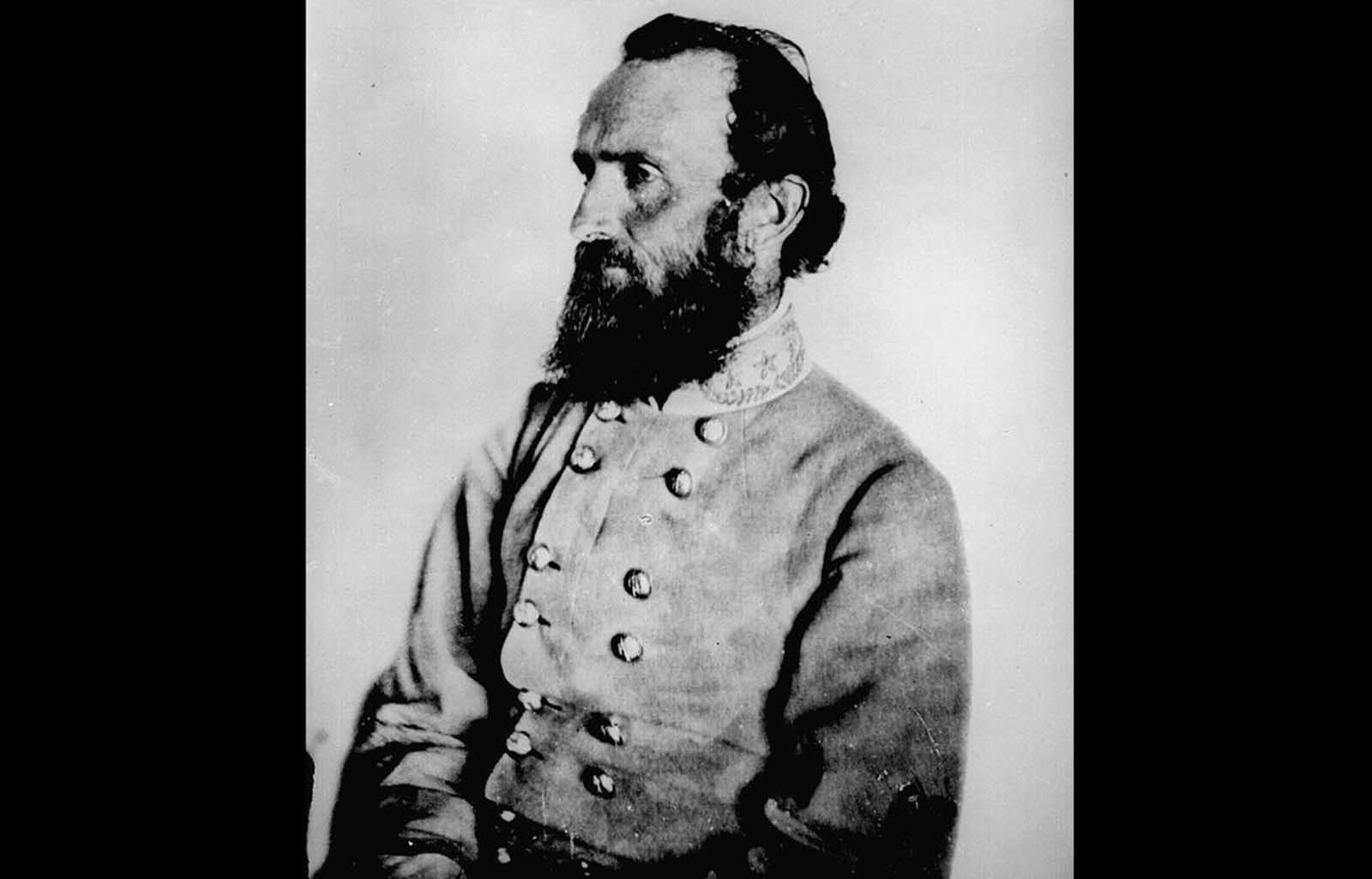 Confederate general Stonewall Jackson. Considered a shrewd tactician, Jackson served in several campaigns, but during the Battle of Chancellorsville he was accidentally shot by his own troops, losing an arm to amputation. He died of complications of pneumonia eight days later, quickly becoming celebrated as a hero in the South.