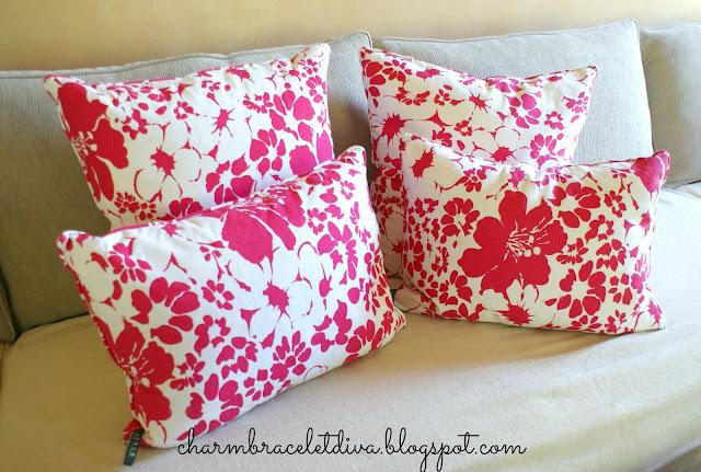 Ralph Lauren fuschia flowers down pillows