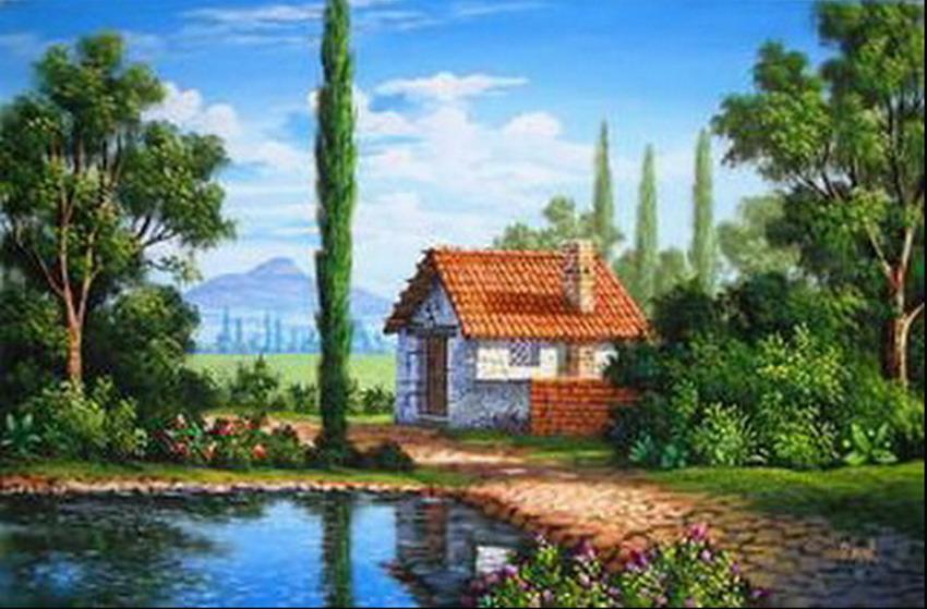 Imágenes Arte Pinturas: Paisajes De Casas Antiguas Pinturas