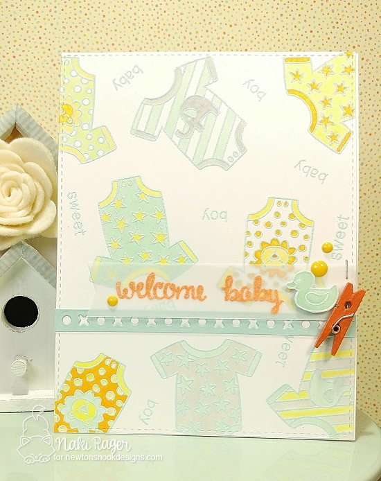 Welcome Baby Card by Naki Rager | Loveable Laundry Stamp set by Newton's Nook Designs #newtonsnook #babycard #handmade