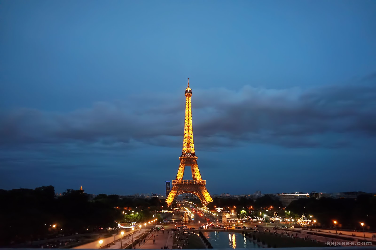 View of Eiffel Tower at Night from Trocadero