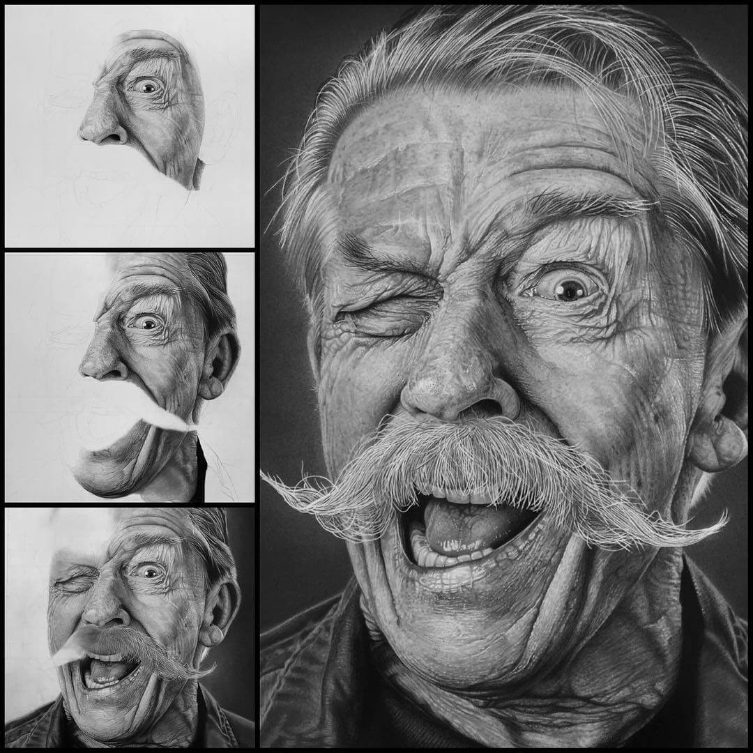 03-Sir-John-Vincent-Hurt-Justin-Cohen-Realistic-Portrait-Drawings-WIP-www-designstack-co