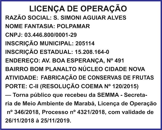 LICENÇA DE OPERAÇÃO E INSTAÇÃO - CASA DO TRIGO - POLPAMAR